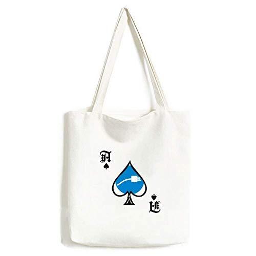 Blue Plug Cable Charging Cable Pattern Handbag Craft Poker Spade Bolsa Lavable