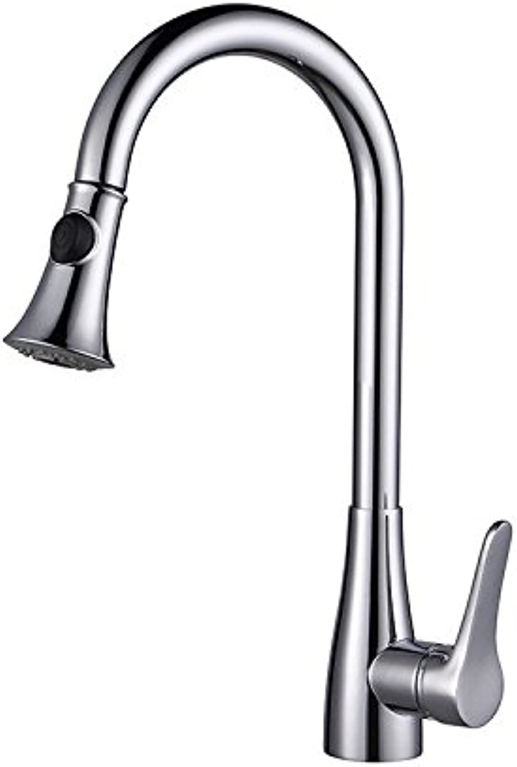 ZXYThe kitchen sink faucet kitchen tap Chrome pull single hole countertop faucet duplex mixing tap