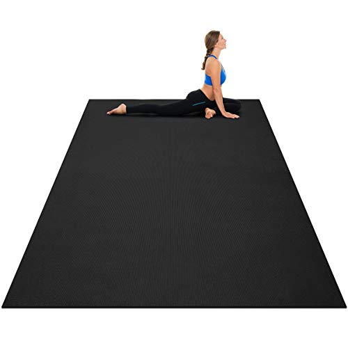 Goplus Large Yoga Mat, 7' x 5' x 8mm and 6' x 4' x 8mm with Straps, Eco Friendly Extra Thick Non Slip Barefoot Fitness Exercise Mat for Home Gym Floor Cardio Workout (Onyx Black, 7'x5')
