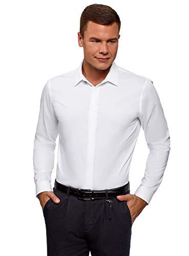 oodji Ultra Herren Tailliertes Hemd mit Verdeckter Knopfleiste, Weiß, 42