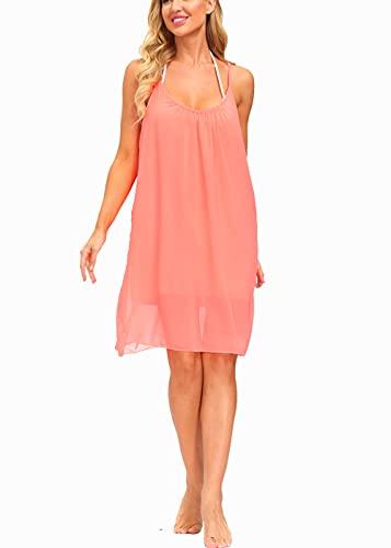 Alleen Damen Sommerkleider Knielang Ärmellos Strandkleid Schulterfrei Chiffon Kleid(Rot1,S)