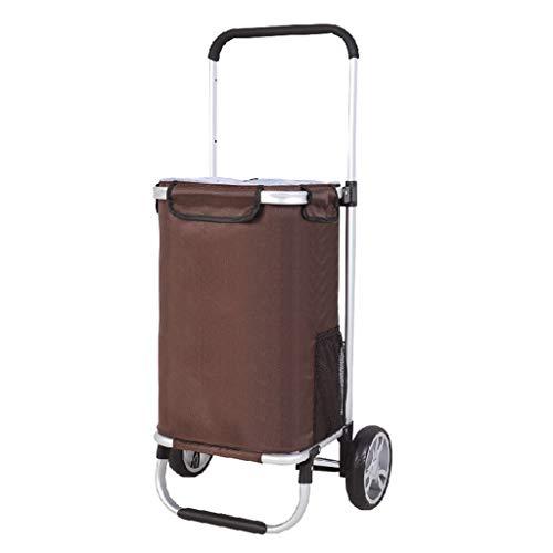Leichte Einkaufswagen für Lebensmittelmarkt Faltbare Einkaufswagen mit 2 Rädern Travel Cart Bag 50L Kapazität/Max Last 50 kg/Braun
