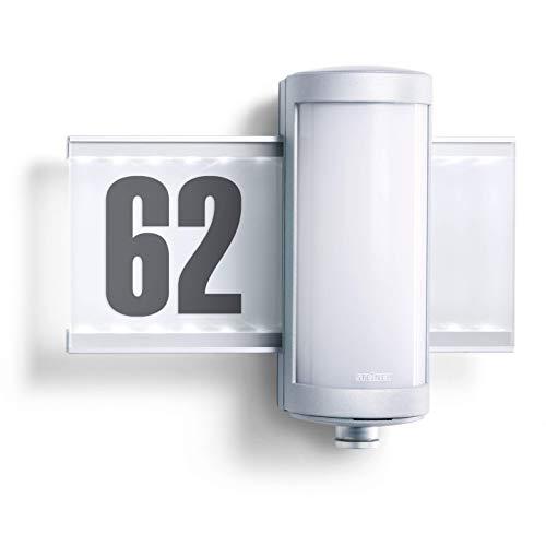 Steinel Außenleuchte L 625 Hausnummer beleuchtet LED Wandleuchte mit 360° Bewegungsmelder, Aluminium, 10 W, Silber [Energieklasse A++]