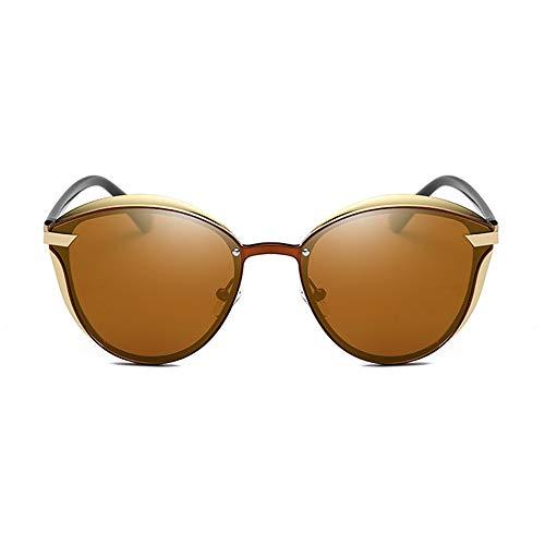 QCSMegy Gafas de Sol Nuevas Gafas De Sol Polarizadas De Metal con Montura Redonda Gafas Retro for Damas, Borde Dorado, Protección UV400 (Color : Brown)