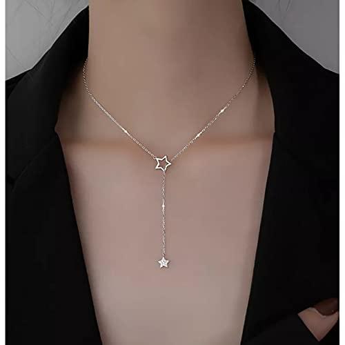 YQMJLF Collar Moda Accesorios Collares Mujer Plata Bonita Gargantilla de Estrella Brillante Collares con Dije de Gota Mujer Encantadora Fiesta de Bodas Joyería de cumpleaños
