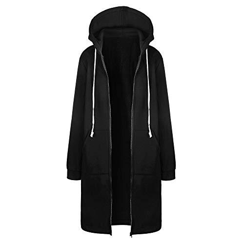 VICENT Women's Casual Long Sleeve Longline Hoodie Sweatshirts Loose Hooded Coat Zipper Plus Size Tops Shirt Pullover Warm Autumn Jumper Jacket S-5XL Black