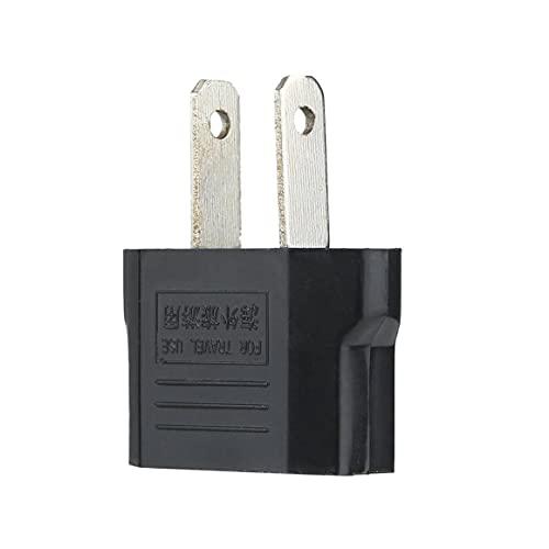 Persdico Adaptador de enchufe de alimentación de CA universal de la UE a EE. UU. Convertidor de viaje Convertidor de cargador de energía de pared de viaje negro
