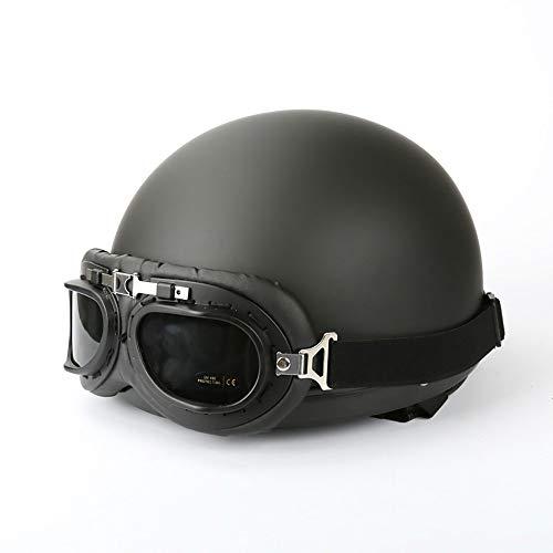 Cascos Moto Vespa,Cascos Moto Abiertos Retro Harley Y Gafas Ajustables,Bicicletas Cruceros Ciclomotores...