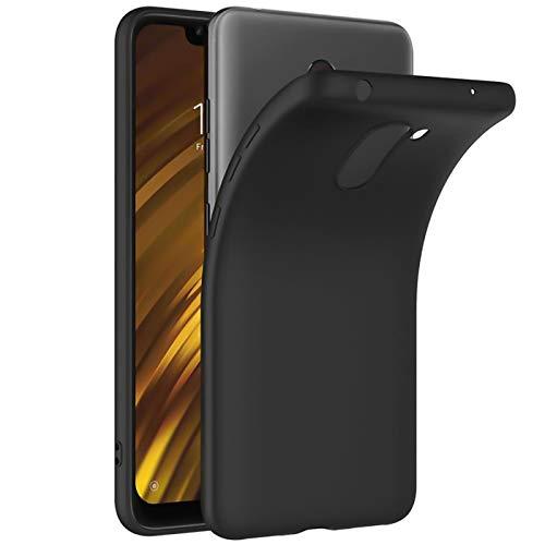 Verco Kompatibel mit Xiaomi Pocophone F1 Hülle, Matte Rückschale Schutzhülle für Pocophone F1 Hülle Silikon Handyhülle - Schwarz