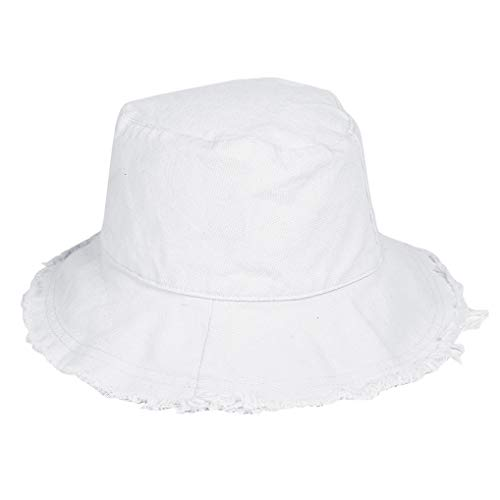 Bucket-Hat Distressed Sun-Protection Washed-Cotton - Summer Wide Brim Beach Cap (White 01)