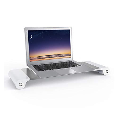 Soporte de la computadora Aluminium Space Bar portátil Portátil Monitor de computadora Monitor de pie Desenombros Organizador con 4 puertos de carga USB y almacenamiento de teclado UE EE. UU. para esc