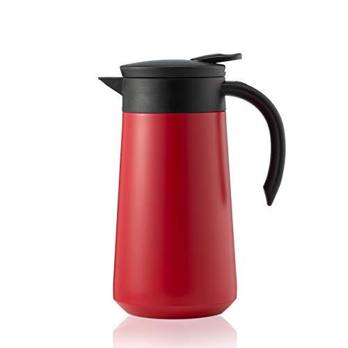 BOHORIA® Isolierkanne | Thermoskanne |Kanne für Kaffee, Tee & Wasser |Edelstahl | Quick Tip Verschluss | 0,8 Liter (Red)