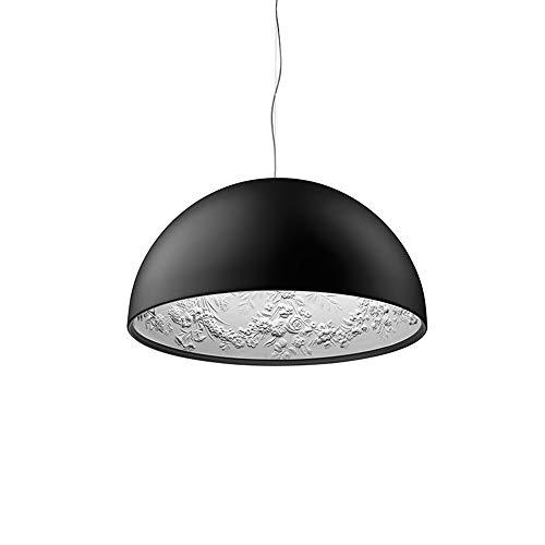 Lámpara colgante moderna redonda negra de resina y metal Luz colgante de escultura de jardín de cielo Diseño creativo E27 Iluminación colgante ajustable en altura para sala de estar Comedor, Φ60cm