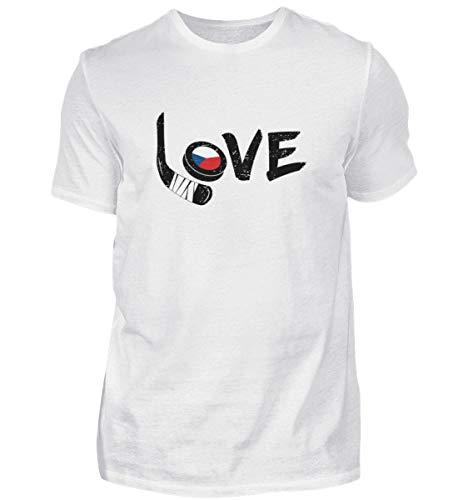 Eishockey Tschechien Liebe - Sport Motiv Flagge Hockey Spieler Mannschaft Cool Spruch Fan - Herren Shirt -M-Weiß