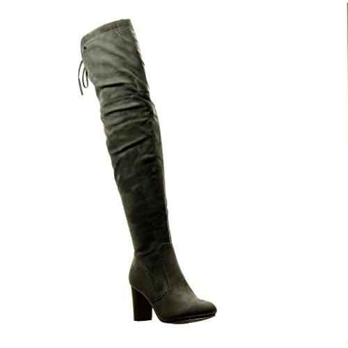 Angkorly - Zapatillas Moda Botas Altas Botas Sexy Flexible Mujer Nodo Talón Tacón Ancho Alto 8.5 CM - Gris H655 T 38