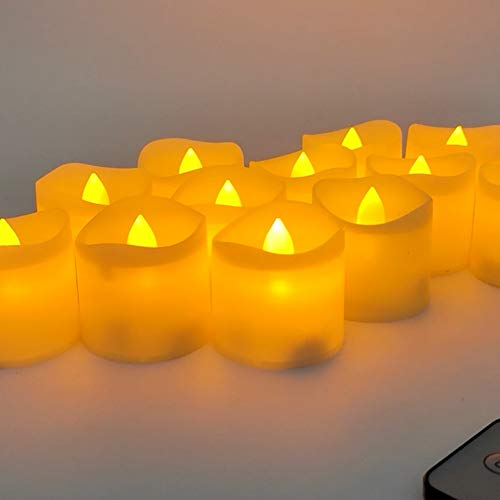 Wongfon LED Candles, Flameless Flickering LED Tealights Candles Realistic, Electric Fake Candles for Wedding Romantic Decoration, Pack of 12