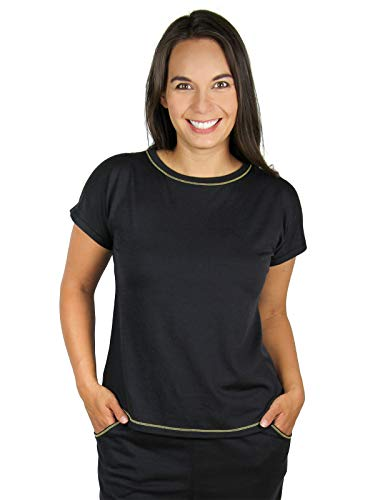 Camiseta feminina de dormir Merino Sereni-Tee da Chill Angel, Preto, Small