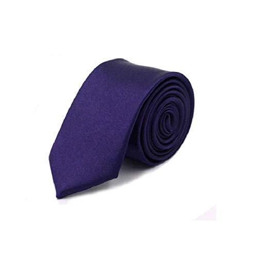 Los hombres de color sólido del lazo delgado lazo de 5 cm de ancho Poliéster cuello estrecho lazo de los hombres de negocios fiesta de la boda accesorios de vestir de color 36, ciruela, un tamaño
