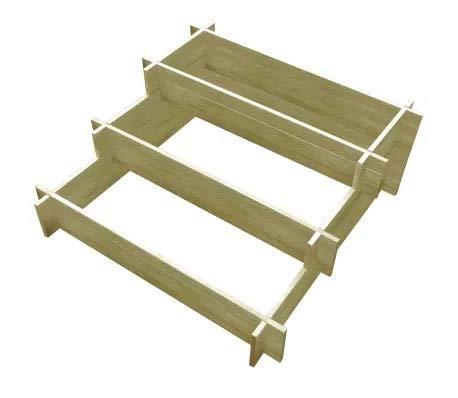 GOTOTOP - Plantador de madera de 3 niveles, 90 x 90 x 35 cm, macetero de madera rectangular grande para plantas, verduras, hierbas, flores, jardinera de jardín para balcón, terraza o patio
