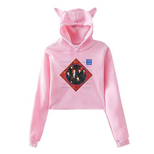Funny Duran Duran Women's Hoodie Sweater Long Sleeve Cute Cat Ear Crop Top Cat Print Hoodie XL