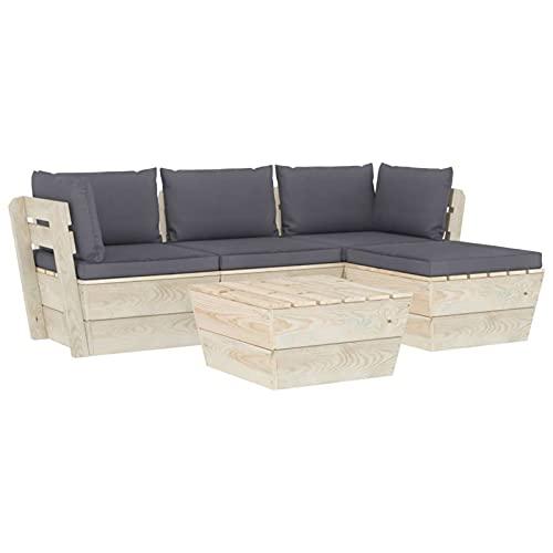 Tidyard Cojin Palés Tino Lounge Muebles de jardín de palets 5 pzas y Cojines Madera de Abeto