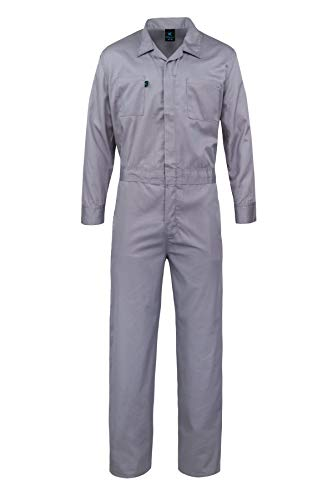 Kolossus Pro-Deluxe Long Sleeve Cotton Blend Coverall with Multi Pockets and Antistatic Zipper Gray