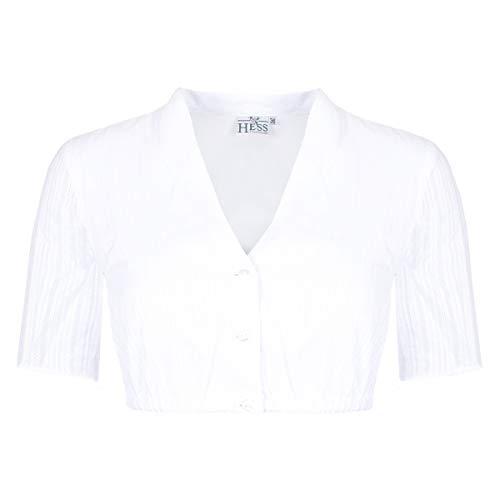 Hess Damen Trachten-Mode Dirndlbluse Kerstin in Weiß traditionell, Größe:36, Weiss o. a. Farbe und Formen:weiß halbarm