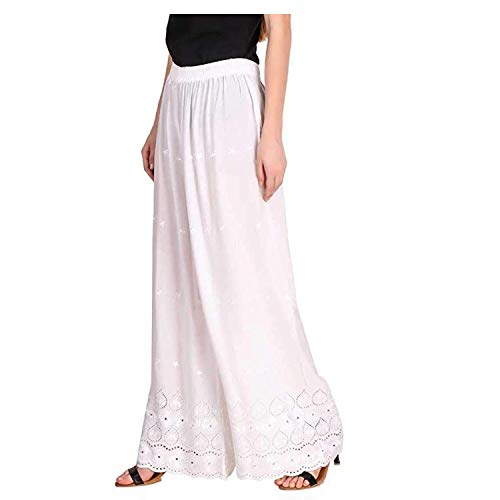 TRIFON Women's Lucknow Chicken Embroidred Cotton Rayan Regular Fit Palazzo_Color White_Size 28 to 38.
