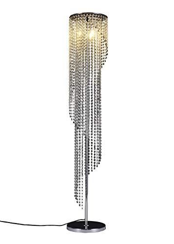 Surpars House Sparkling Elegant Raindrop Crystal Floor Lamp,Silver