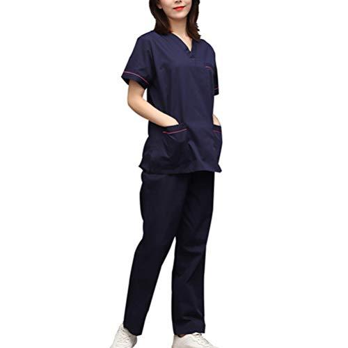 PRETYZOOM Medizinische Peelings Set Pflegeuniform Krankenhaus Kostüm Peelings Top Und Hosen Set Kurzarm V-Ausschnitt Kostüm für Krankenschwester Salon Arzt Größe S