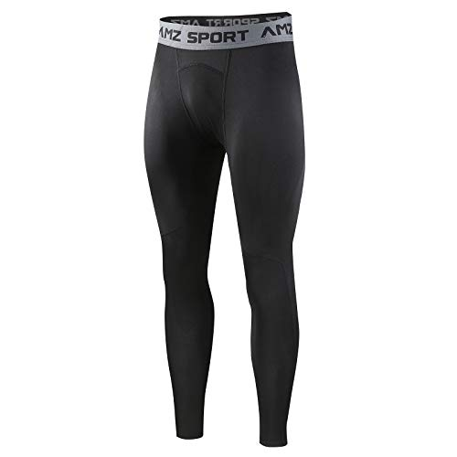 AMZSPORT Herren Kompressionshose Schnelltrocknende Laufhose Sporthose Atmungsaktive Trainingshose, Schwarz S