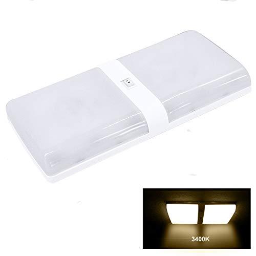 Facon Luz de Techo LED 12 V para Autocaravana, Autocaravana, Caravana, Remolque, luz Interior, Nuevo diseño, Familia de Diamante Simple y Doble (1 Paquete Doble, 3400 K Blanco cálido)