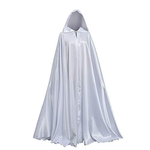GRACEART Capa con Capucha Largo Disfraz de Halloween para Disfraz Muerte Adulto (Blanco)