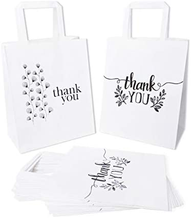 Thank You Paper Bags Bulk with Flat Handles Pack of 50 White Kraft Bags 2 Designs 25 Each for product image
