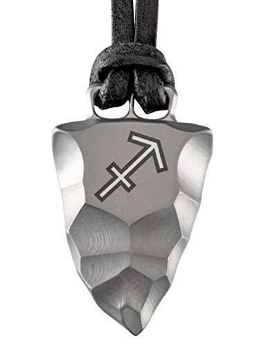 Element of Gods Titan Faustkeil Sternzeichen Schütze Amulett aus Reintitan Herrenschmuck Anhänger Lederband (50)