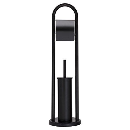 Sealskin Acero Toilettenpapierhalter + Toilettenbürste, WC-Garnitur aus Edelstahl, Farbe: Schwarz