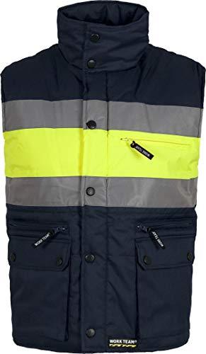 Work Team Chaleco acolchado y multibolsillos con dos cintas reflectantes y tejido de alta visibilidad. HOMBRE Marino+Amarillo A.V. XL