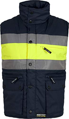 Work Team Chaleco acolchado y multibolsillos con dos cintas reflectantes y tejido de alta visibilidad. HOMBRE Marino+Amarillo A.V. L