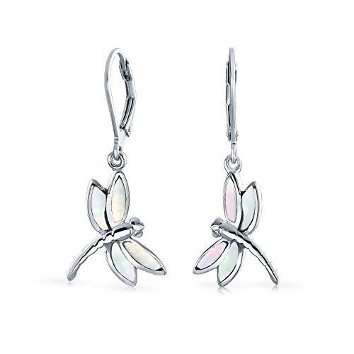 Dainty mariposa libélula jardín Iridescent blanco madre de la perla concha inlaid gota palanca...