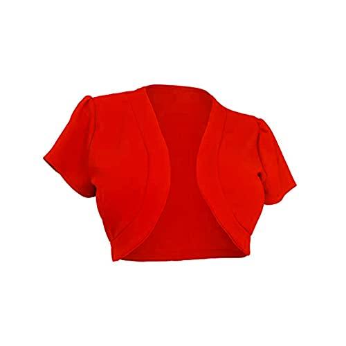 Las mujeres de manga corta Bolero Cardigan más el tamaño abierto frente sólido Knit chaquetas recortadas encogimiento para el vestido de verano S-3XL