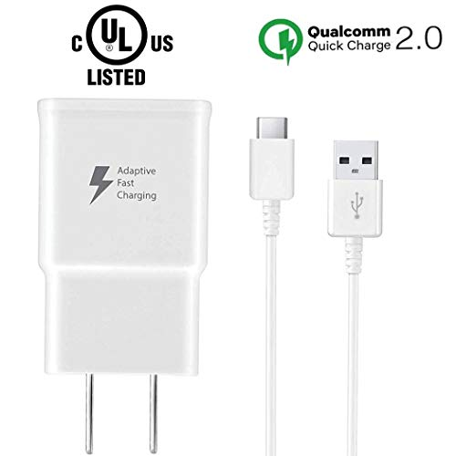 USB C Fast Charger for Samsung Galaxy S8 Plus S9 Plus Note 8 Note 9 S10 S10e LG, Adaptive Fast Charging Wall Charger Adapter, 75% Increase in Charging Speed Samsung Phone Charger, Type C Cable Include