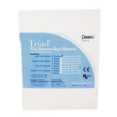 Triad Denture Resin Denture Base Material Ropes Light Pink Fibered 6/Box