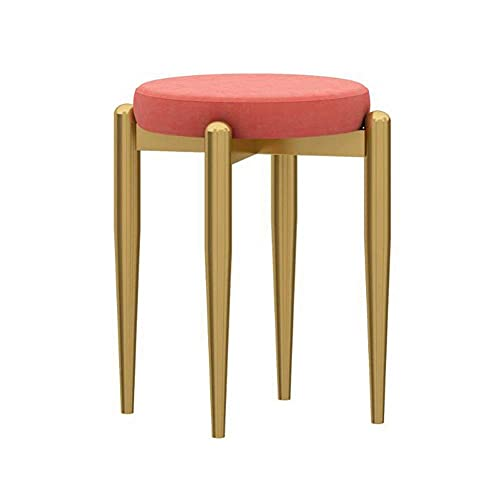 WSDSX Furniture Dining Chair, Home Makeup Stool, Comfortable Conference Reception Chair, Iron Small Apartment Cute Dressing Stool, for Living Room, Bedroom, Office,Orange Red,41x44cm