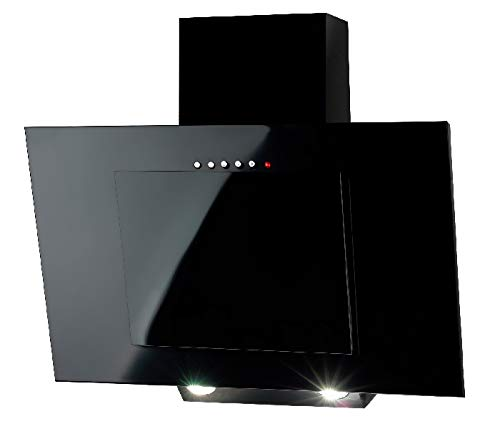 Design vertical Cheminée hotte 60 cm en noir