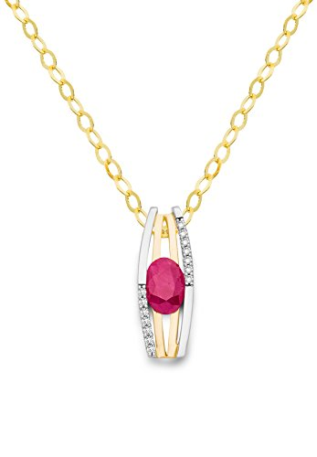 Miore Kette Damen 0.07 Ct Diamant Halskette mit Anhänger Edelstein/Geburtsstein Rubin in Rot und Diamanten Brillanten bicolor Kette aus Gelbgold und Weißgold 18 karat / 750 gold, Halsschmuck 45 cm