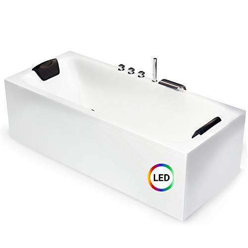 AQUADE Badewanne 180 x 80 cm Acryl-Badewanne Komplett-Set mit Schürze Wannenträger Ab-Überlauf + Wannenrandarmatur + Nackenkissen + LED Beleuchtung Modell: Bonn
