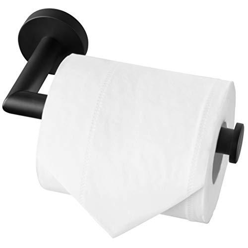 HITSLAM - Porta rotolo di carta igienica in acciaio inox cromato, montaggio a viti, per bagno e cucina, rotondo, in acciaio inox 304, Nero Opaco