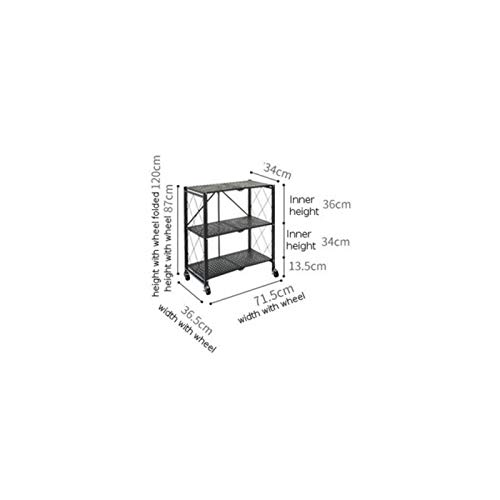 Tbaobei-Baby Estanterías de microondas plegables para la cocina, estante para especias, organizador de acero al carbono, horno microondas con ruedas, UtilityRegale Rack (tamaño: 1; color: negro)