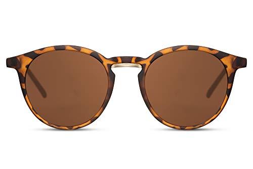 Cheapass Gafas de Sol Mate Leopardo Redondas Gafas de Sol con Puente Metálico Efecto y Lentes Marrones Protección UV400 Hombres Mujeres