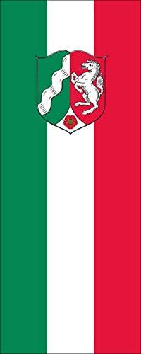 flaggenmeer® Flagge Nordrhein-Westfalen mit Wappen 110 g/m² ca. 200 x 80 cm mit Hohlsaum für Ausleger
